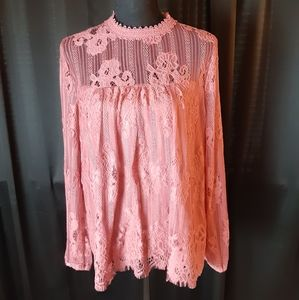 Taylor & Sage high neck all around lace blouse
